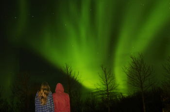 People watching the Northern lights in Iceland