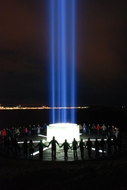 The Imagine Peace Tower in Viðey island