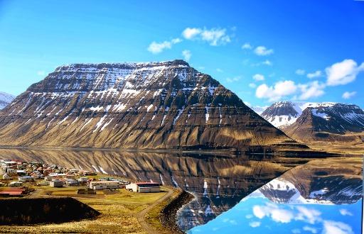 A wide shot of Isafjordur in the Westfjords region