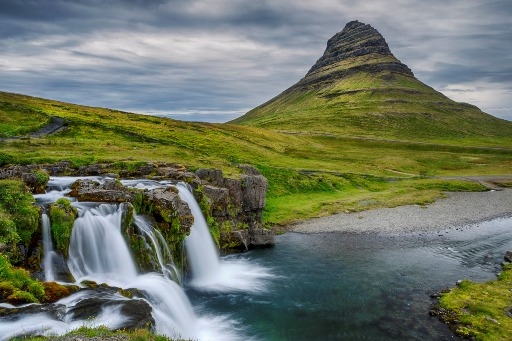 A wide shot of the Snæfellsnes Peninsula and Kirkjufell Waterfall