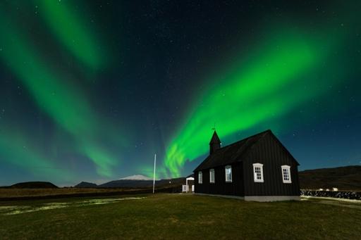 Northern lights over Buðir on the Snæfellsnes peninsula