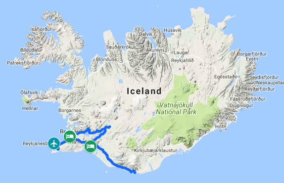 Tour package south iceland and northern lights 5 days bp42 map sciox Gallery